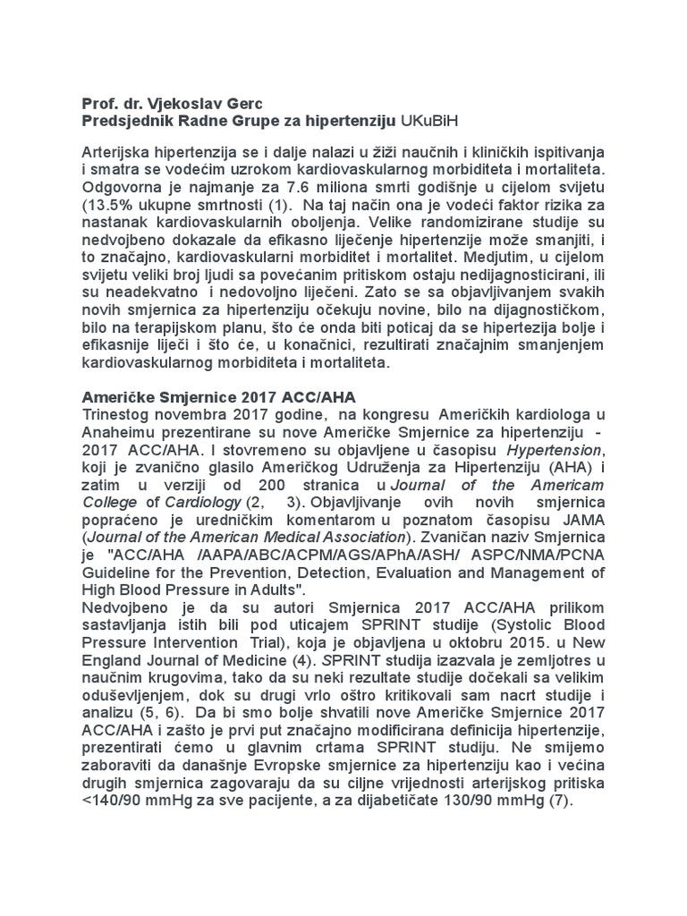standard za liječenje hipertenzije noga ukočenost u hipertenzije